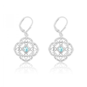 Sterling Silver Diamonds with Center Blue Stone Square Earrings