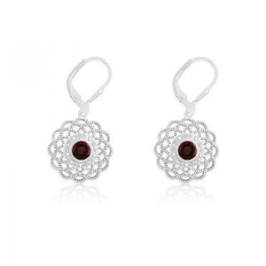 Sterling Silver Diamonds with Center Garnet Flower Shaped Earrings