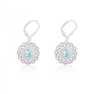 Sterling Silver Diamonds with Center Blue Stone Flower Shaped Earrings