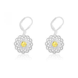 Sterling Silver Diamonds with Center Citrine Flower Shaped Earrings