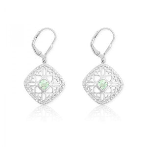 Sterling Silver Diamonds with Center Green Quartz Square Earrings