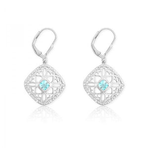 Sterling Silver Diamonds with Center Blue Topaz Square Earrings