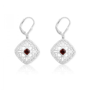 Sterling Silver Diamonds with Center Garnet Square Earrings