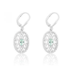 Sterling Silver Diamonds with Center Green Quartz Oval Earrings
