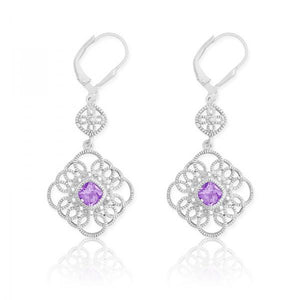 Sterling Silver Diamonds with Center Amethyst Square Earrings