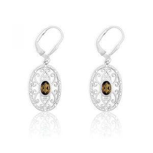 Sterling Silver Diamonds with Center Smoky Quartz Oval Earrings