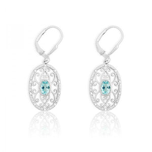 Sterling Silver Diamonds with Center Blue Topaz Oval Earrings