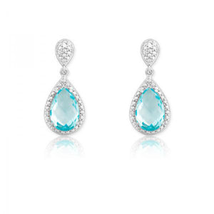 Sterling Silver Diamond and Tear-shaped Blue Topaz Earrings