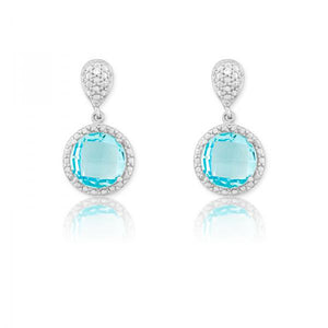 Sterling Silver Diamond and Round 9mm Blue Topaz Earrings