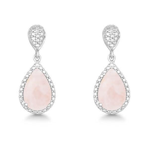 Sterling Silver Diamond and Tear-shaped Rose Quartz Earrings
