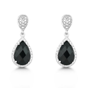 Sterling Silver Diamond and Tear-shaped Black Onyx Earrings