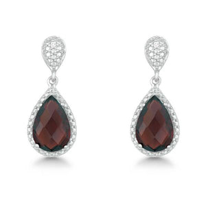 Sterling Silver Diamond and Tear-shaped Garnet Earrings