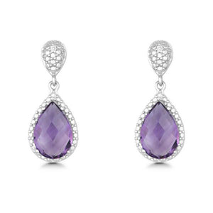 Sterling Silver Diamond and Tear-shaped Amethyst Earrings