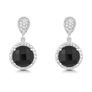 Sterling Silver Diamond and Round 9mm Black Onyx Earrings