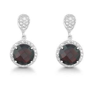 Sterling Silver Diamond and Round 9mm Garnet Earrings
