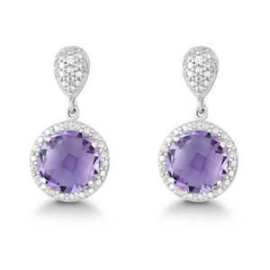Sterling Silver Diamond and Round 9mm Amethyst Earrings