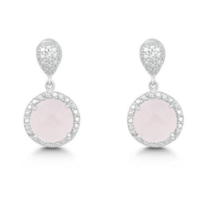 Sterling Silver Diamond and Round 9mm Rose Quartz Earrings