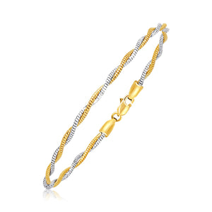 14K Two-Tone Gold Braided Style Mirror Spring Bracelet