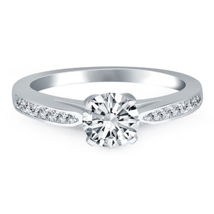 14K White Gold Cathedral Engagement Ring with Pave Diamonds