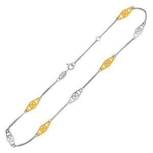 14K Yellow Gold and Sterling Silver Anklet with Rounded Diamond Shape Stations