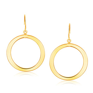 14K Yellow Gold Flat Open Tube Round Earrings