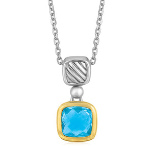 18K Yellow Gold and Sterling Silver Necklace with Cushion Blue Topaz Pendant