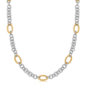 18K Yellow Gold and Sterling Silver Rhodium Plated Multi Style Chain Necklace