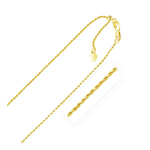 1.0mm 10K Yellow Gold Adjustable Rope Chain