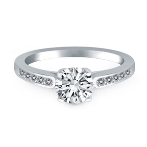 14K White Gold Diamond Channel Cathedral Engagement Ring