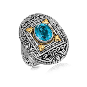 18K Yellow Gold and Sterling Silver Ring with a Framed Blue Topaz Accent