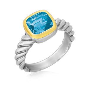 18K Yellow Gold and Sterling Silver Cable Style Ring with a Cushion Blue Topaz