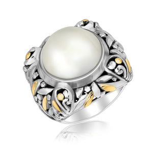 18K Yellow Gold and Sterling Silver Pearl Embellished Leaf Style Ring