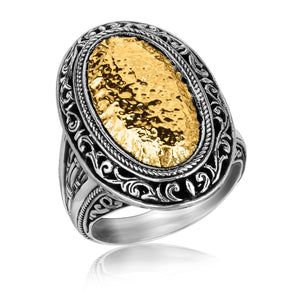 18K Yellow Gold and Sterling Silver Vintage Inspired Oval Hammered Ring