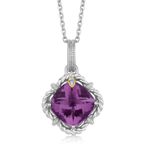 18K Yellow Gold and Sterling Silver Cushion Amethyst and Diamond Pendant