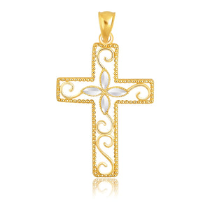 14K Two-Tone Gold Filigree Flower Motif Cross Pendant
