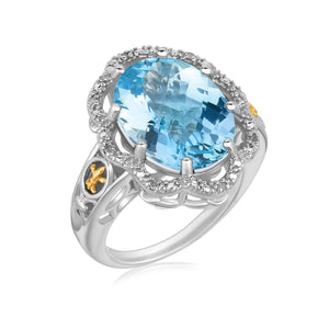 18K Yellow Gold and Sterling Silver Ring with Blue Topaz and Diamonds