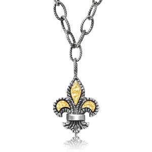 Sterling Silver & 18K Yellow Gold Fleur De List Pendant