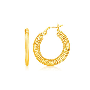 14K Yellow Gold Greek Key Medium Hoop Earrings with Flat Sides