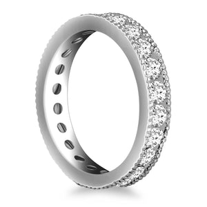 14K White Gold Antique Channel Set Round Diamond Eternity Ring