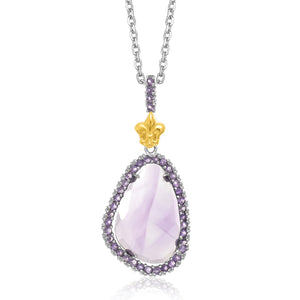 18K Yellow Gold & Sterling Silver Amethyst Pendant