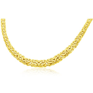 14K Yellow Gold Byzantine Chain Graduated Style Necklace