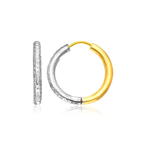 14K Two-Tone Gold Hoop Earrings with Textured Style