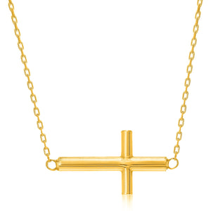 14K Yellow Gold Necklace with a Polished Cross Design