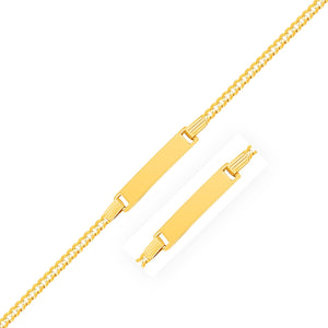 14K Yellow Gold Curb Link Style Children's ID Bracelet
