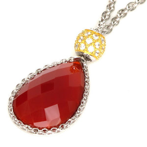 15.5-17.5 in - Esposito 925 Sterling Silver Red Onyx Drop Necklace