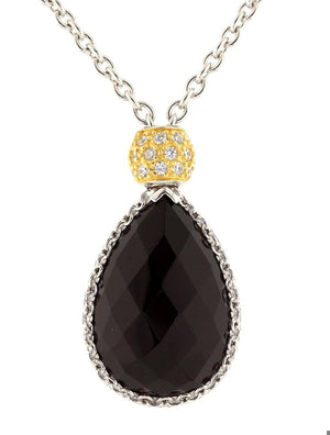 "16""-18"" Esposito 925 Sterling Silver Lariat Black Pear Necklace"