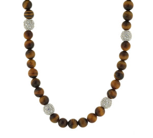 "17""-19"" Esposito 925 Sterling Silver Tiger's Eye Necklace"