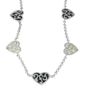 17 in - 925 Sterling Silver Onyx and Mother of Pearl Heart Reversible Necklace