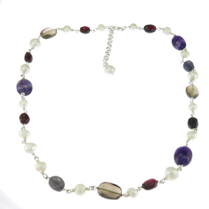 18-20 in - Amethyst Garnet Smoky Quartz and Pearl 925 Sterling Silver Necklace