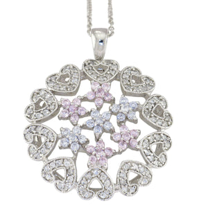 18 in - 925 Sterling Silver Multicolor CZ Flower Heart Circle Pendant Necklace